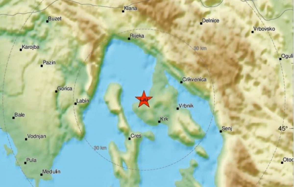Krk potresao slab potres, osjetio se do Istre